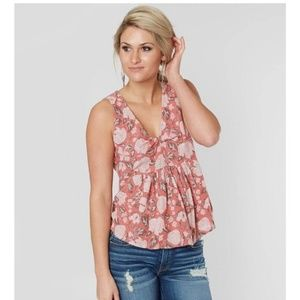 Lucky Brand pink floral tank top blouse